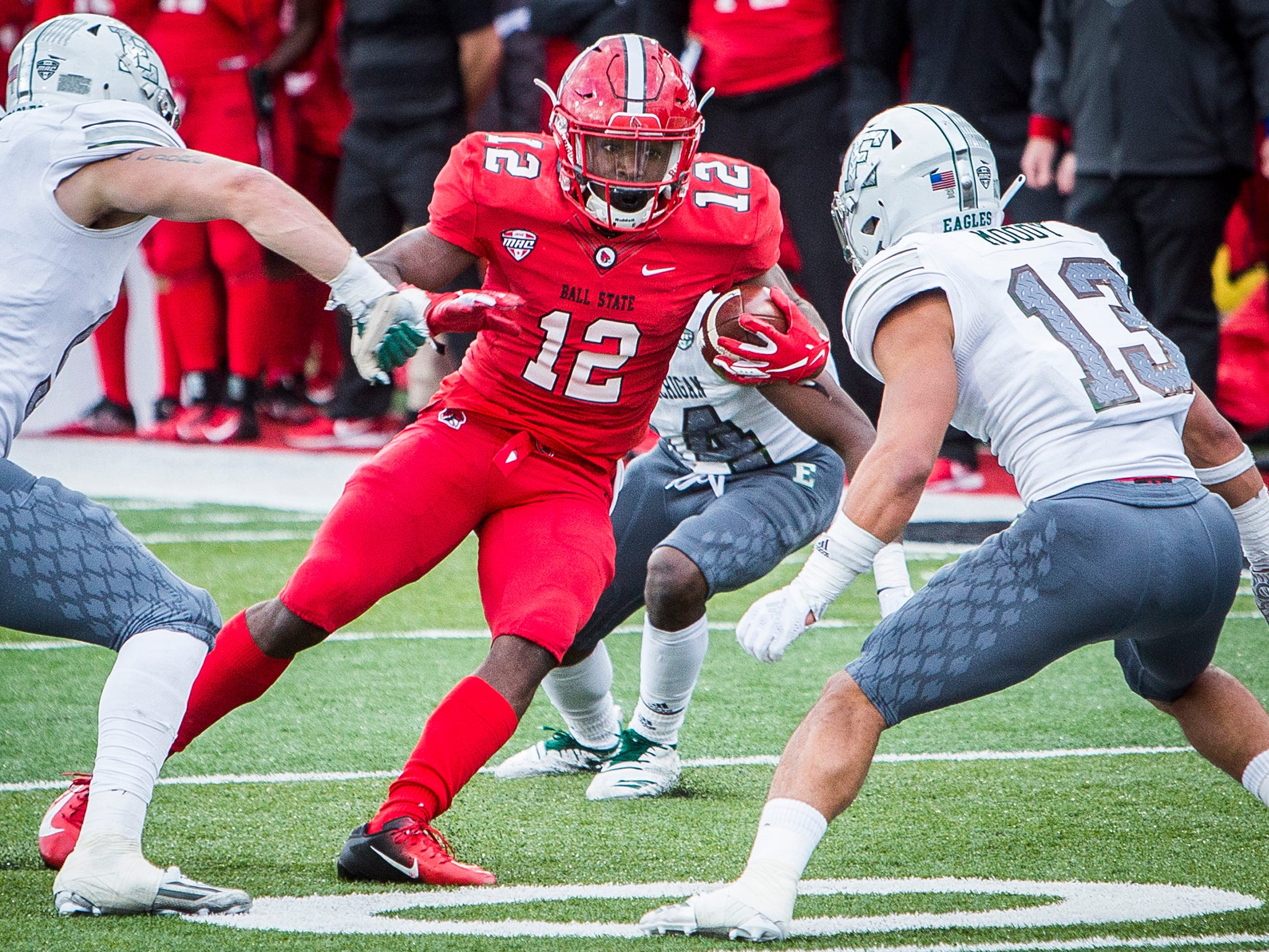 Ball State's Justin Hall runs against Eastern Michigan during their game at Scheumann Stadium Saturday, Oct. 20, 2018.