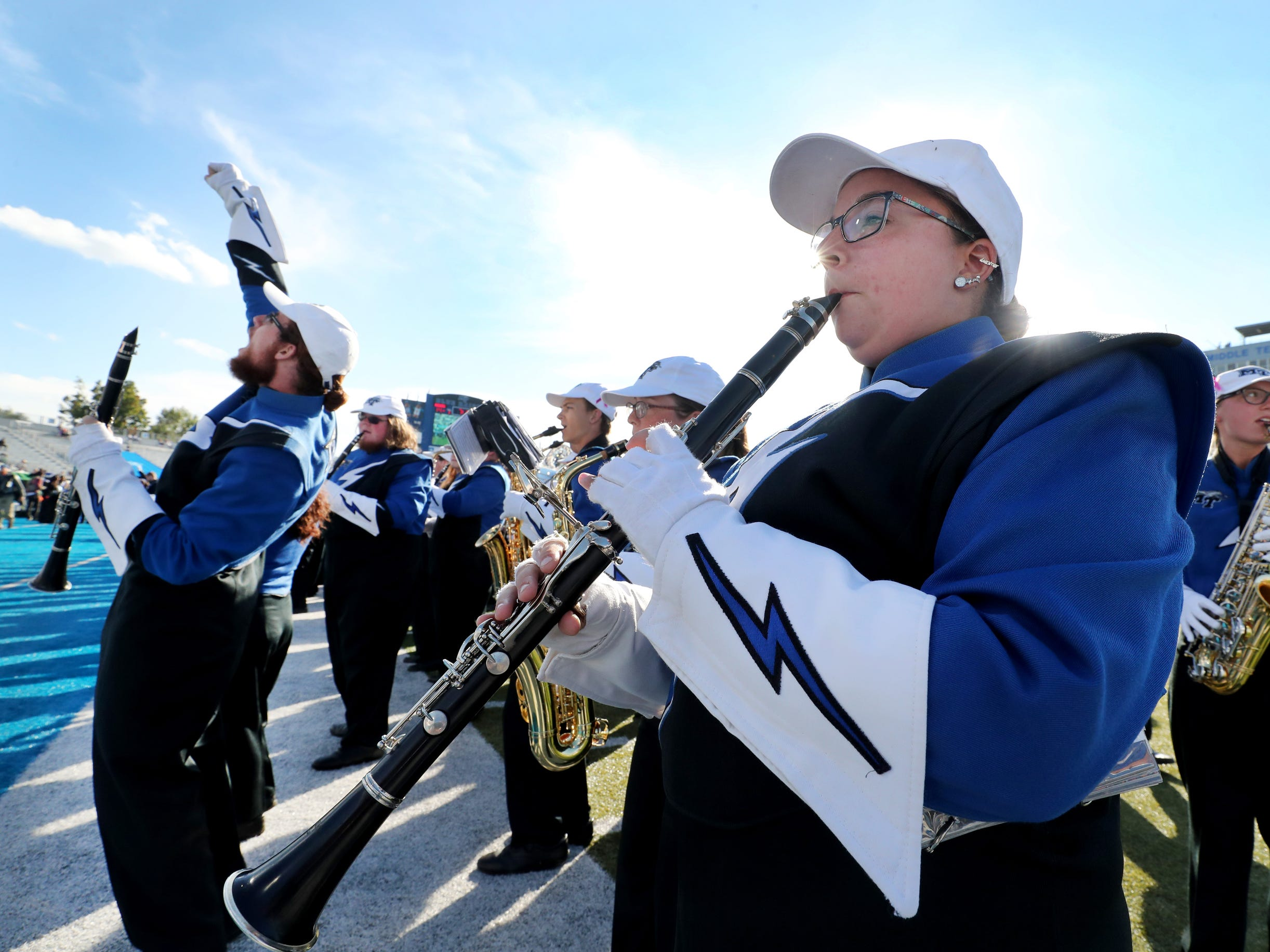 The MTSU Band of Blue plays music for the Homecoming ceremony during halftime of the game the Homecoming game against Charlotte, on Saturday, Oct. 20, 2018.
