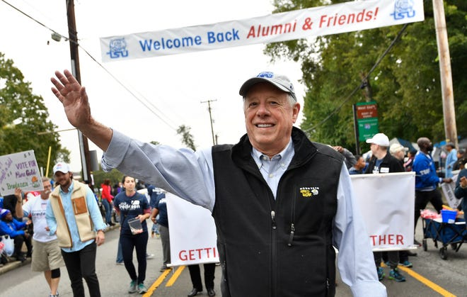 U.S. Senate candidate Phil Bredesen waves to the crowd during the 2018 TSU Homecoming Parade along John Merritt Blvd. on Tennessee State University campus Saturday, Oct. 20, 2018, in Nashville, Tenn.