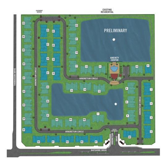 The preliminary site plan for Arboretum, a new condominium development from Mattamy Homes under construction on the northwest corner of Bayshore and Thomasson drives in East Naples.