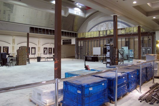 Renovation work can be seen in October 2018 the lobby and concession area of Hollywood 20 movie theater on Naples Boulevard in North Naples that was severely damaged by Hurricane Irma.