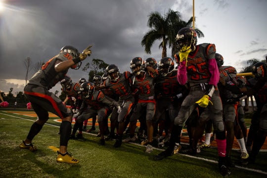 Lely High School football team gets ready to start the game on Friday, October 19, 2018, at Lely High School in Naples.