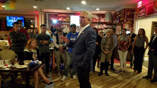 Republican Senate candidate Bob Hugin addresses attendees at a meet-and-greet at the Noches de Colombia restaurant in Elizabeth on Oct. 11, 2018.