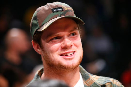 Oct 19, 2018; Brooklyn, NY, USA; New York Jets quarterback Sam Darnold looks on during a game between the New York Knicks and Brooklyn Nets at Barclays Center.