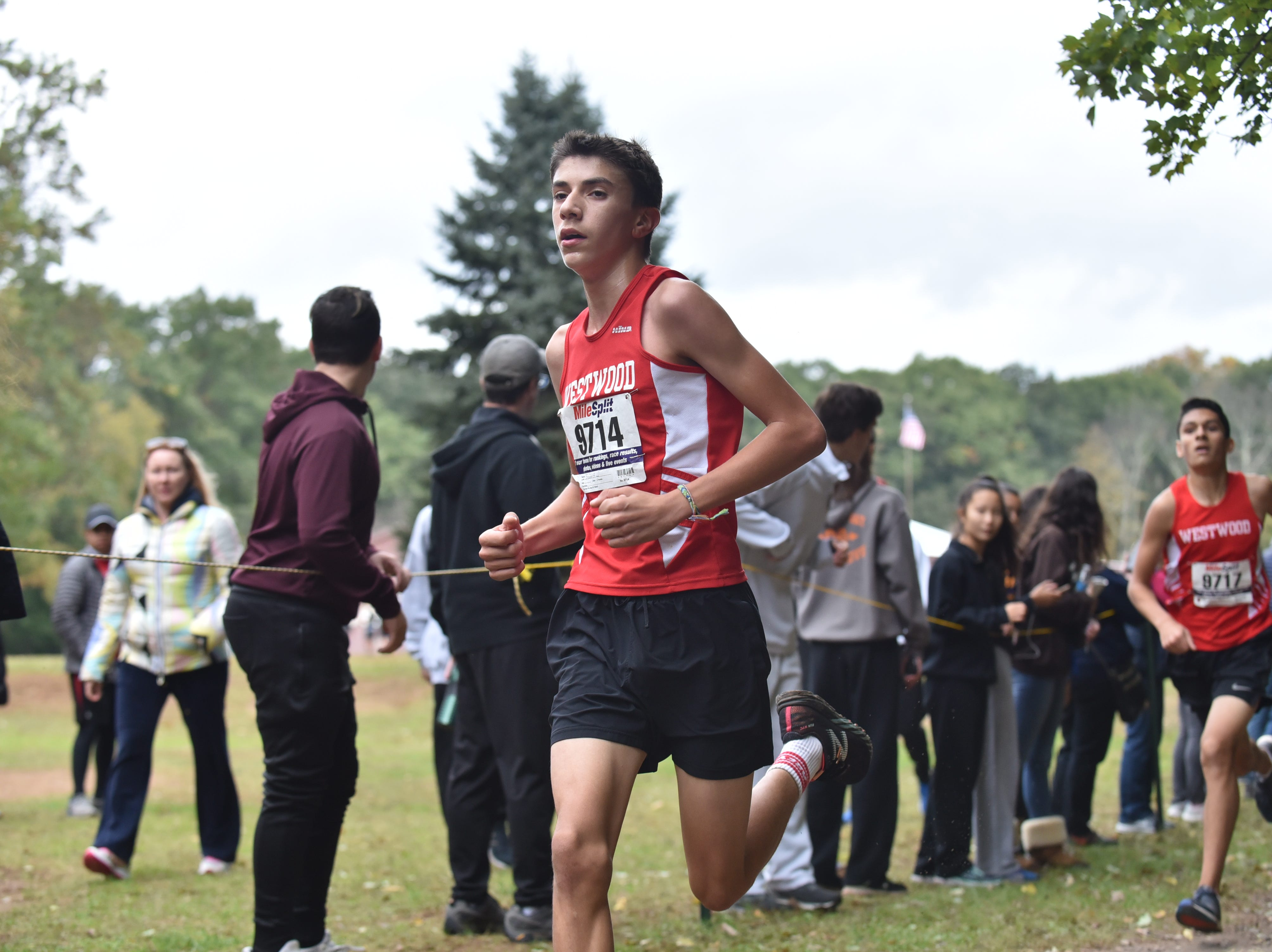 Steve Bello of Westwood wins 3rd in Group C at the Bergen County Cross Country Championships.