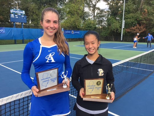 Andrea Cerdan (left) defeated Ashley Hess for her second state tennis title in three years on Saturday, Oct. 20.