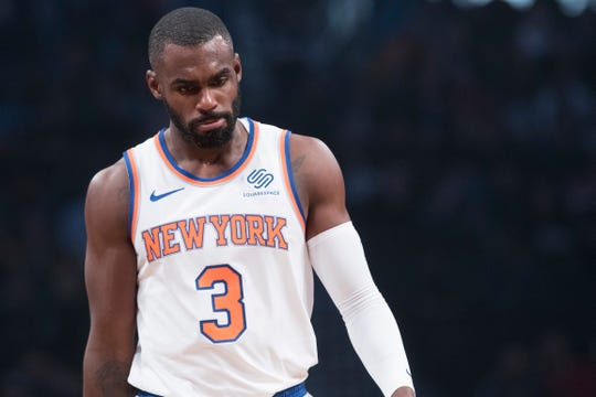 New York Knicks guard Tim Hardaway Jr. reacts during the first half of an NBA basketball game against the Brooklyn Nets, Friday, Oct. 19, 2018, in New York.