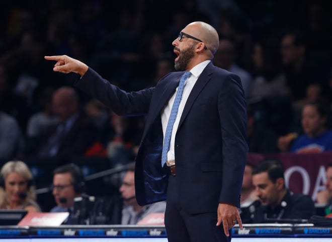 Oct 19, 2018; Brooklyn, NY, USA; New York Knicks head coach David Fizdale reacts during the first half against the Brooklyn Nets at Barclays Center.