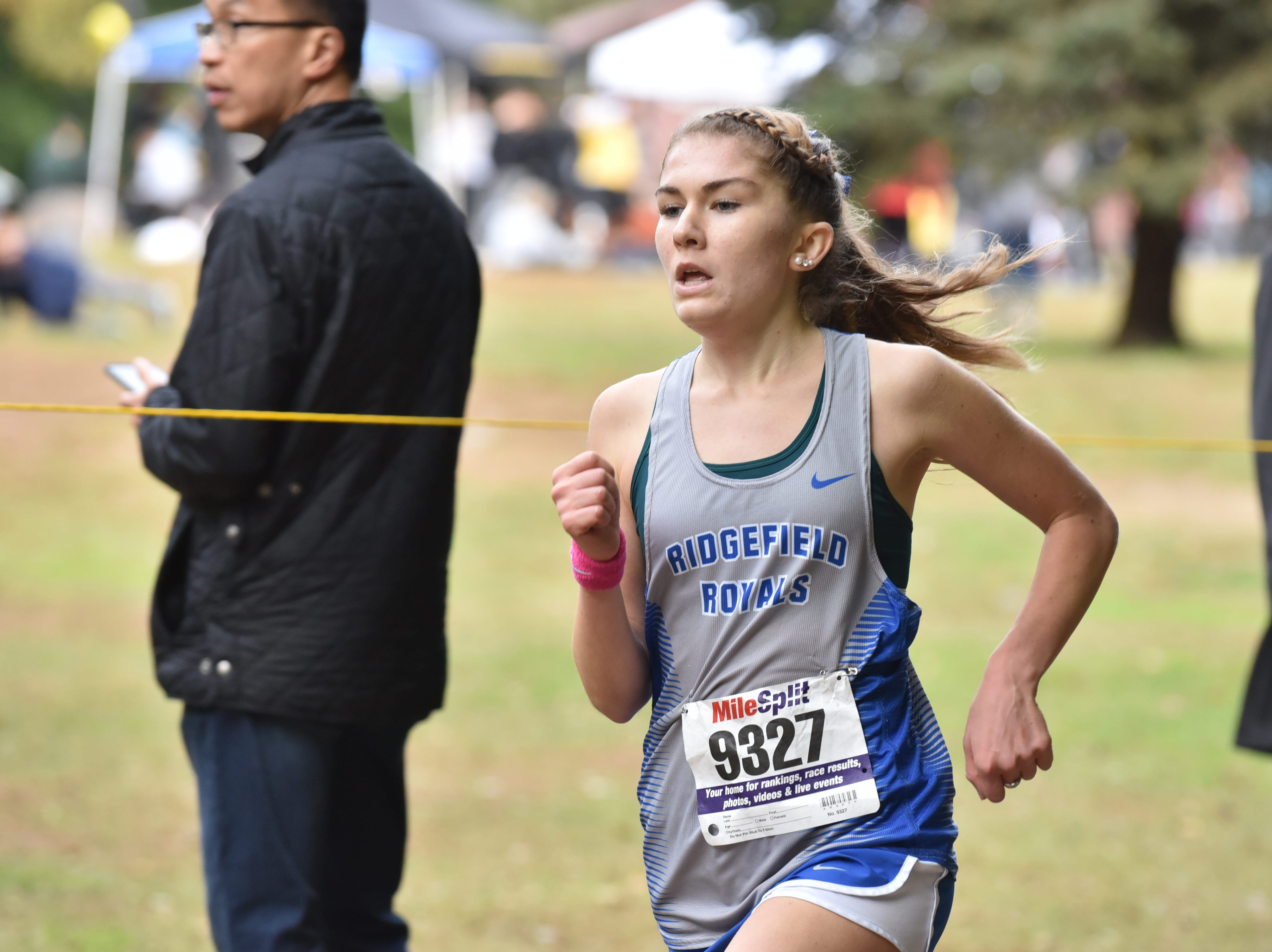 Marry Griffin of Ridgefield wins 2nd in Group D at the Bergen County Cross Country Championships.