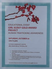 An event sign for the human trafficking awareness event   at the Borough of Totowa Community Center on Saturday, October 20 2018. Grace Rose, A girl scout, organized the event as part of her Gold Award project.
