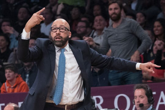 New York Knicks head coach David Fizdale gestures during the second half of an NBA basketball game against the Brooklyn Nets, Friday, Oct. 19, 2018, in New York.