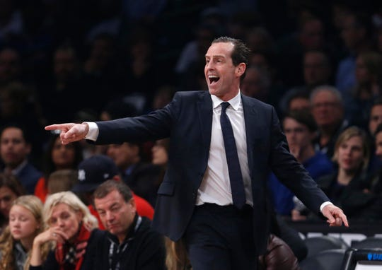 Oct 19, 2018; Brooklyn, NY, USA; Brooklyn Nets head coach Kenny Atkinson reacts during the first half against the New York Knicks at Barclays Center.