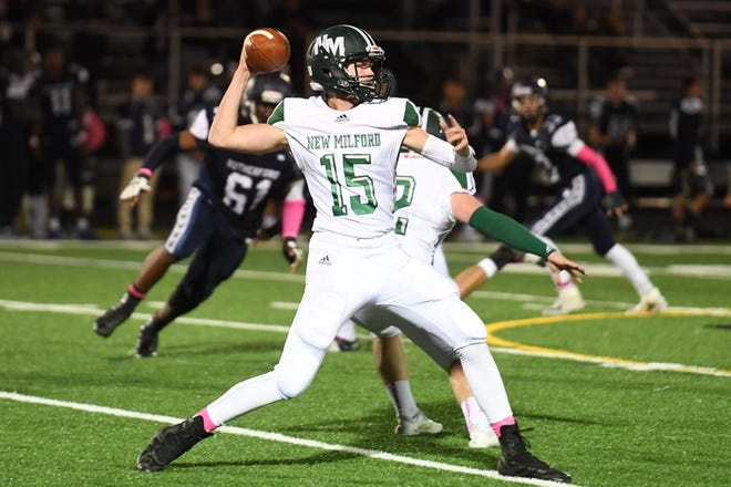 New Milford at Rutherford in North Jersey Interscholastic Conference playoff semifinal on Friday, October 19, 2018. NM QB #15 Brian Mackey in the second quarter.