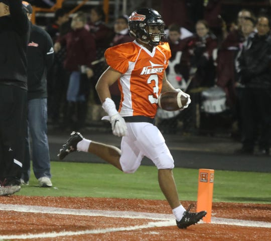 Jasiah Purdie of Hasbrouck Heights scores his second touchdown of the game in the second half.