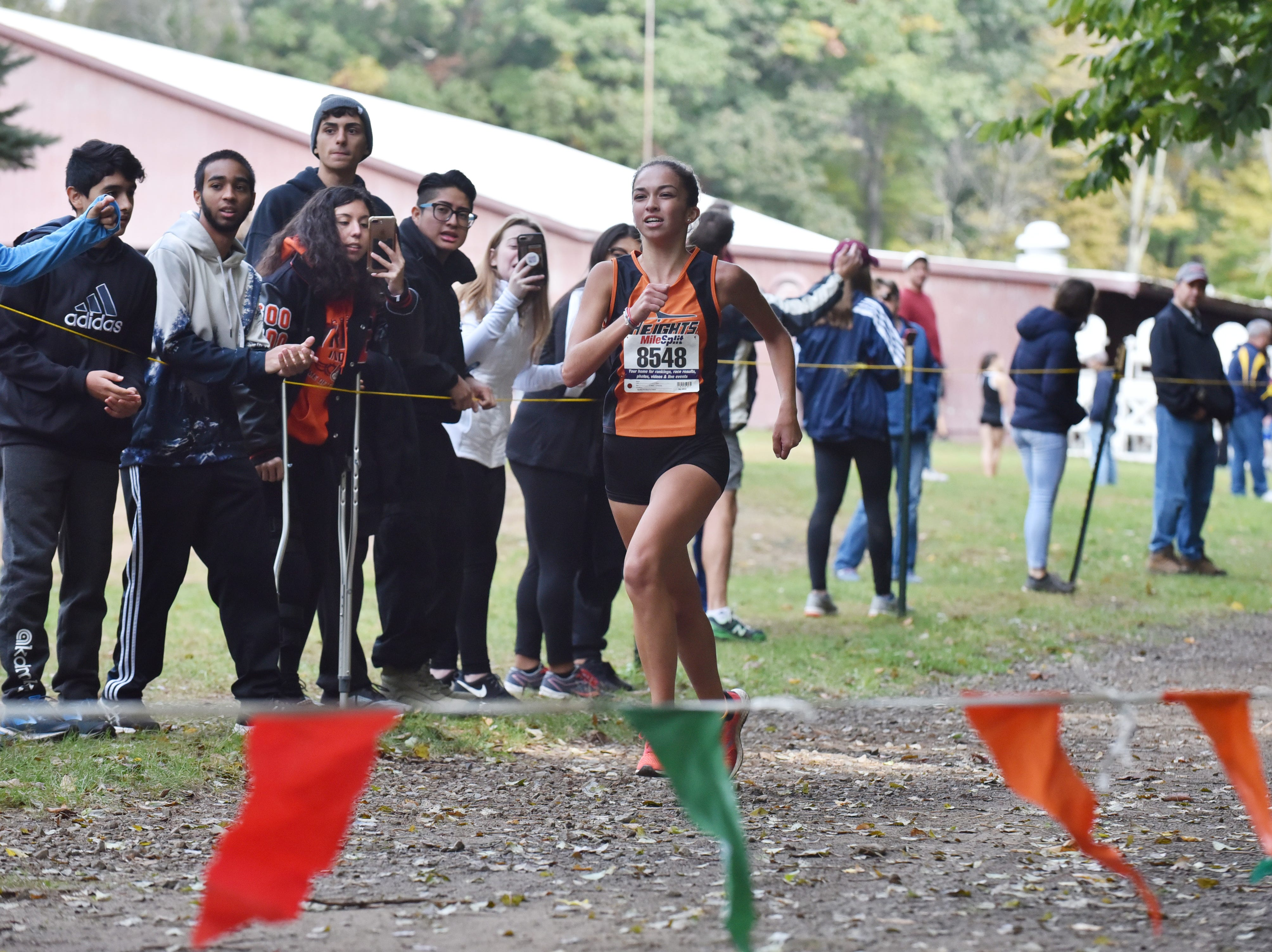 Shannon Artuso of Hasbrouck Heights wins 1st in Group D at the Bergen County Cross Country Championships.