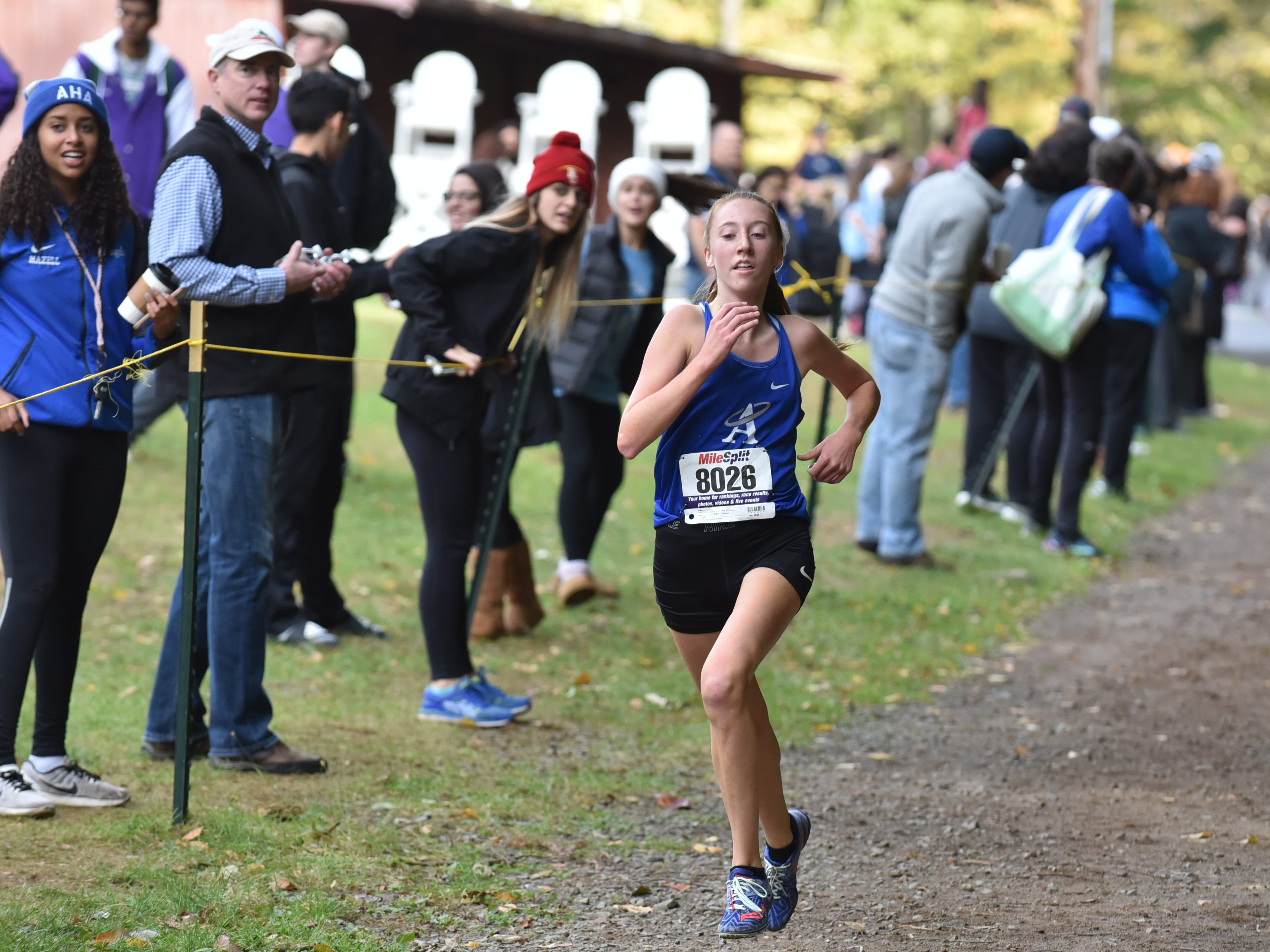 Deidre James of Holly Angels wins 2nd in Group E at the Bergen County Cross Country Championships.