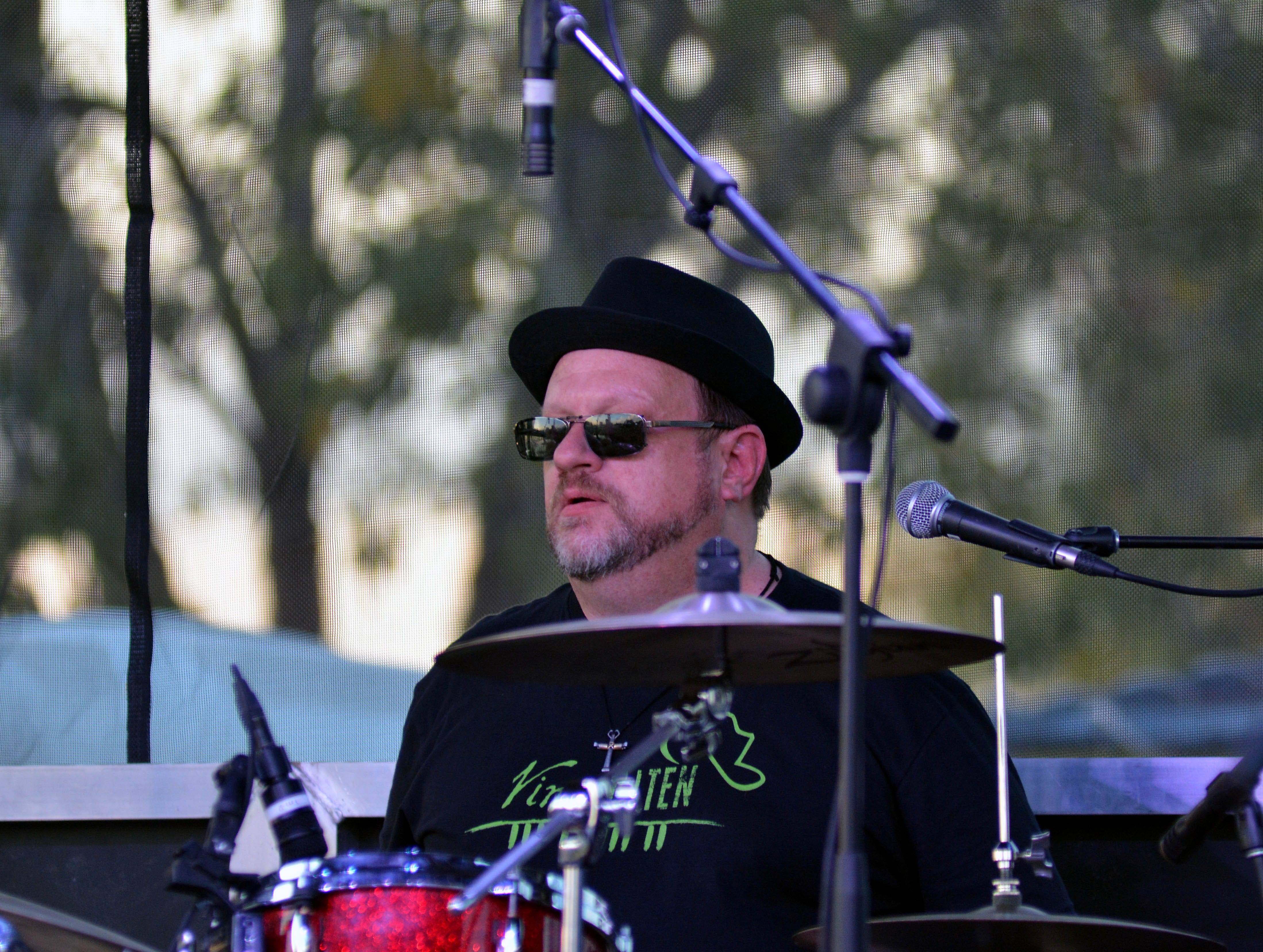 A member of the The Riff Raff, Vince Alten's band, drums at the Las Cruces Country Music Festival on Friday, Oct. 19, 2018.