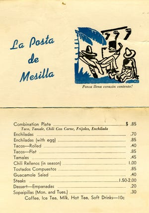 Descendants of the Griggs family donated materials to the New Mexico State University Library Archives and Special Collections in 2018. One of the items includes an undated menu from La Posta de Mesilla Restaurant.