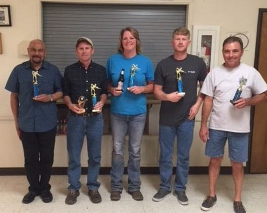 The Community Pool League's second place team winners are, pictured from left to right, Chuck Patel, Tim Shaw, Tammy Moore, Kevin Ament and Steve Weigt.