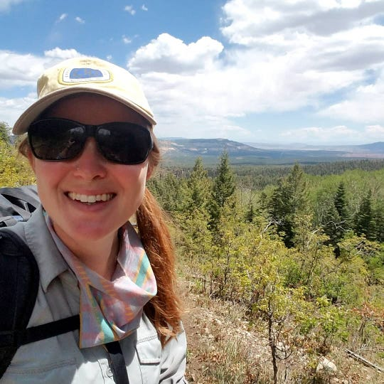 Farmington's Amanda Goldstein stops just north of Ghost Ranch, located in north-central New Mexico, in this undated photo in May while hiking the Continental Divide Trail.