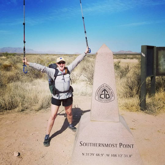 Farmington's Amanda Goldstein prepares to hike the Continental Divide Trail, starting just south of Lordsburg on April 18.