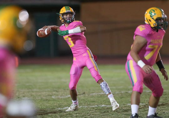 Donny Fitzgerald of Coachella Valley throws against Desert Hot Springs, October 19, 2018.