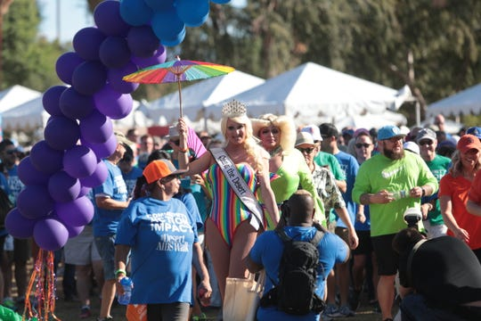 Participants walk in the 32nd Desert AIDS Walk on Oct. 20, 2018, in Palm Springs.