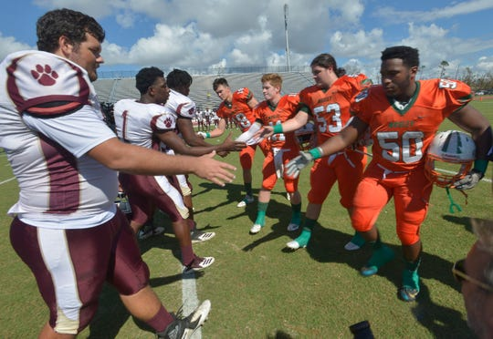 Pensacola High School and Panama City Mosley High School come together to a rare Saturday, Oct. 20, 2018, football game to help the Panama City Community unwind for the Hurricane Michael disaster.