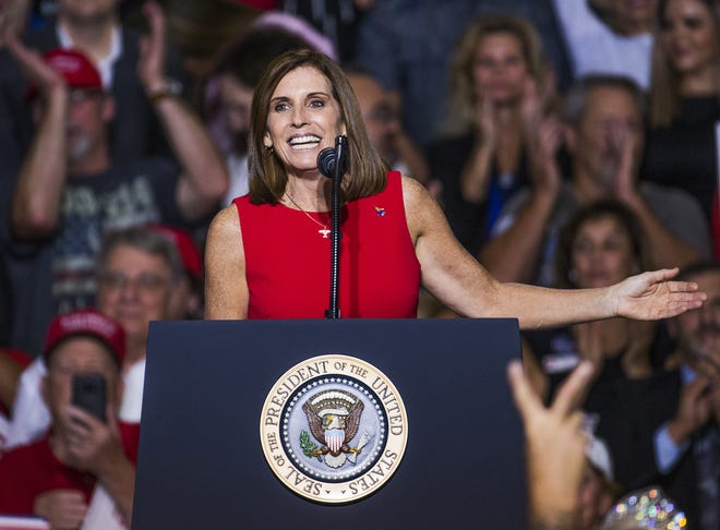 Rep. Martha McSally addresses the crowd after being introduced by President Donald Trump on Oct. 19, 2018, in Mesa.