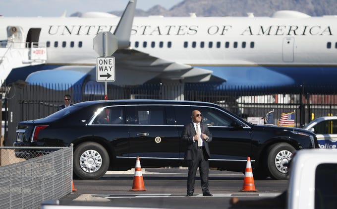 President Donald Trump's motorcade arrives at Sky Harbor Airport in Phoenix, Ariz. on October 20, 2018.
