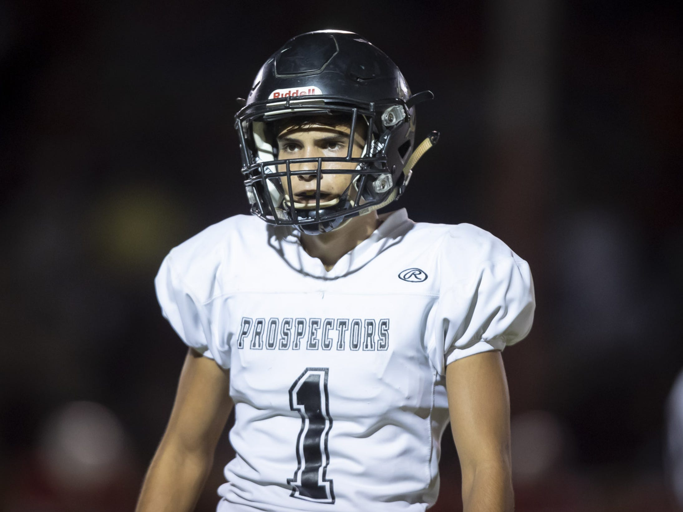 Senior defensive back Gabe Nogales (1) of the Apache Junction Prospectors looks on during the game against the Glendale Cardinals at Glendale High School on Friday, October 19, 2018 in Glendale, Arizona. #azhsfb