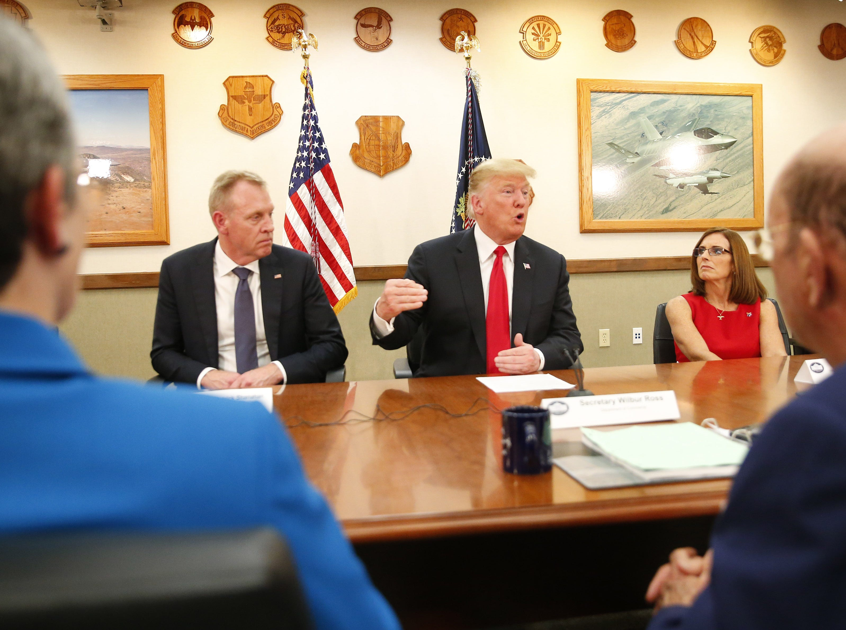 President Donald Trump leads a roundtable discussion during a round-table discussion at Luke Air Force Base in Glendale on Oct. 19, 2018.