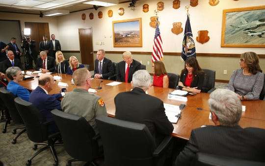 President Trump holds a round-table discussion at Luke Air Force Base in Glendale on October 19, 2018.