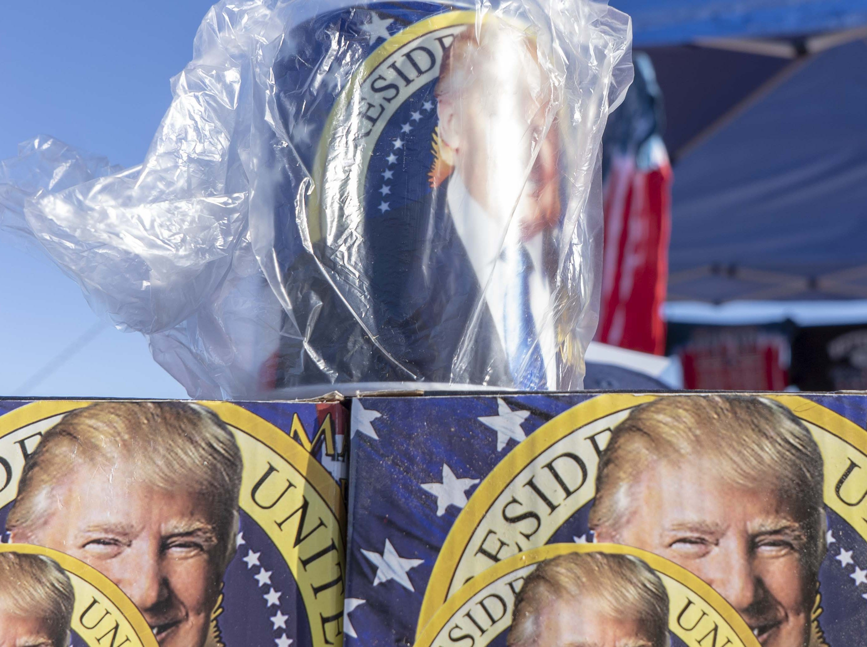Showing support for President Donald Trump at a rally for Martha McSally at Phoenix-Mesa Gateway Airport on Oct. 19, 2018.