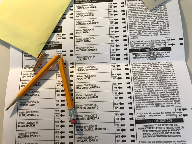 """The fate of about 3,000 ballots cast in Maricopa County on Saturday and Monday at five polling places dubbed """"emergency vote centers"""" is up in the air after the state Republican party threatened a lawsuit."""