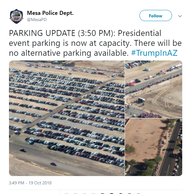Parking lots at capacity three hours ahead of Trump rally at Phoenix-Mesa Gateway Airport