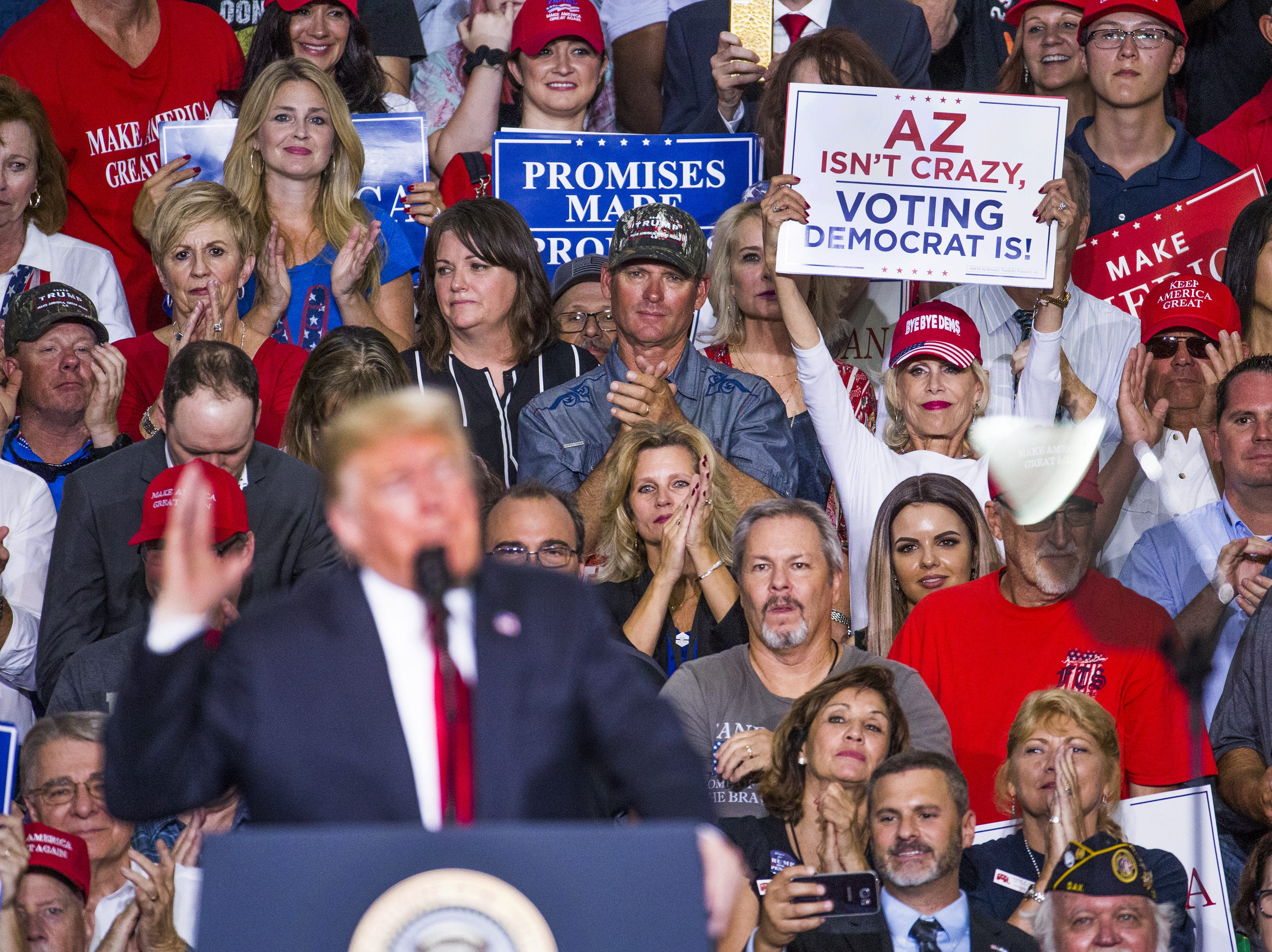 President Donald Trump speaks at Phoenix-Mesa Gateway Airport, during a rally for Rep. Martha McSally, on Oct. 19, 2018.