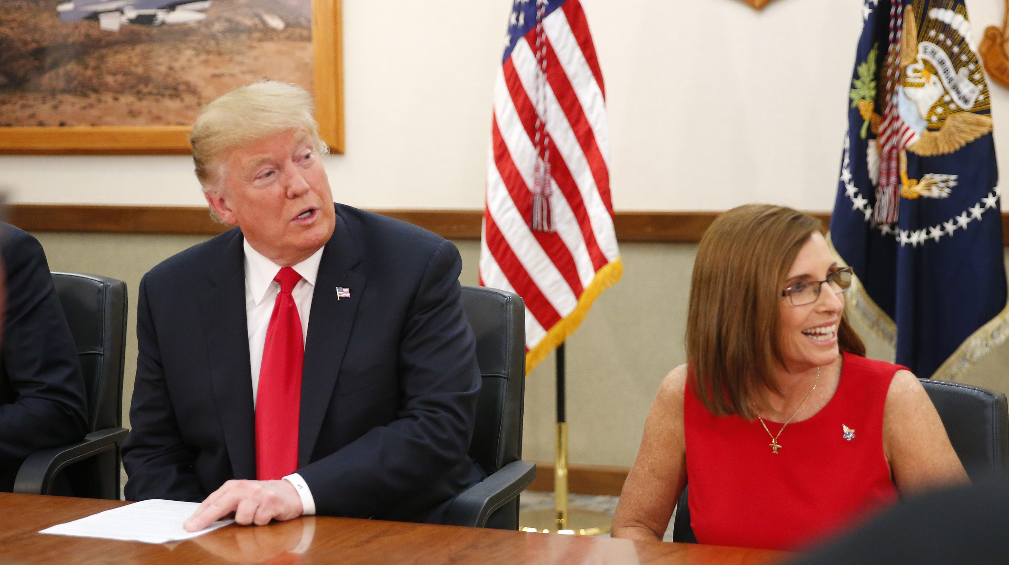 Trump visits Luke Air Force Base and talks military investment, immigration and McSally