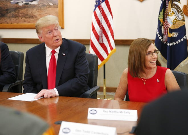 President Trump and Rep. Martha McSally participate during a defense capability and round-table tour at Luke Air Force Base in Glendale on October 19, 2018.