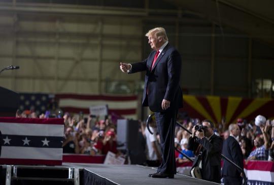 President Trump speaks during a Make America Great Again Rally at International Air Response Hangar at Phoenix-Mesa Gateway Airport on Oct. 19, 2018.
