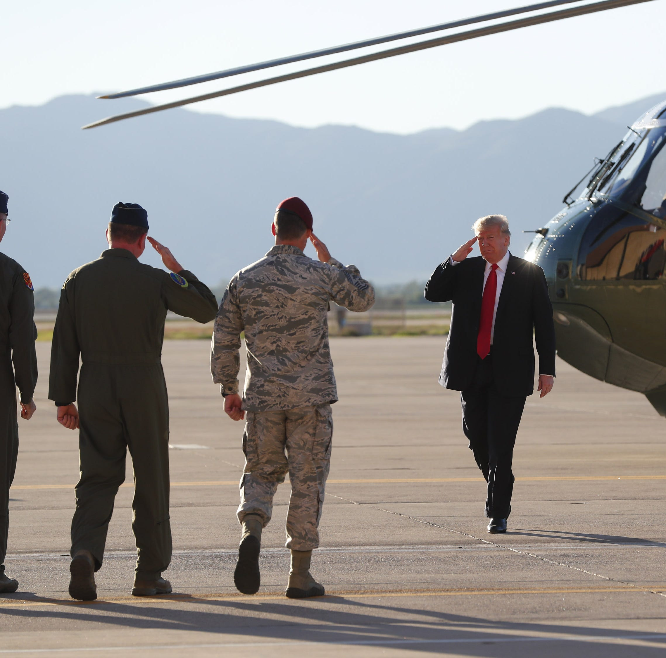 Trump rally: Trump meets with military leaders at Luke Air Force Base