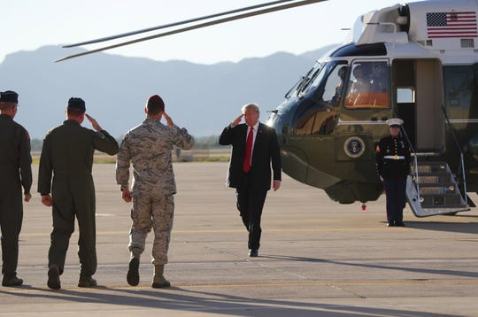 President Trump arrives on Marine One for a defense capability and round-table tour at Luke Air Force Base in Glendale on October 19, 2018.