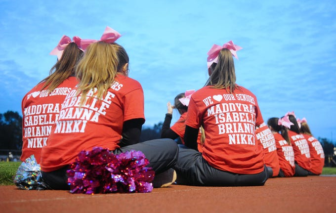 Senior cheerleaders were honored by their teammates on senior night at Annville Cleona H.S.  Friday Oct.19,2018 at Annville Cleona H.S.