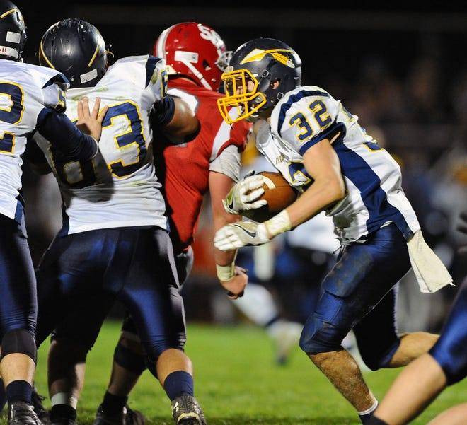 Luke Williams was part of a powerful rushing attack that propelled the Elco football team to a 42-7 rout of Northern York in the opening round of the 4A district playoffs on Friday night.