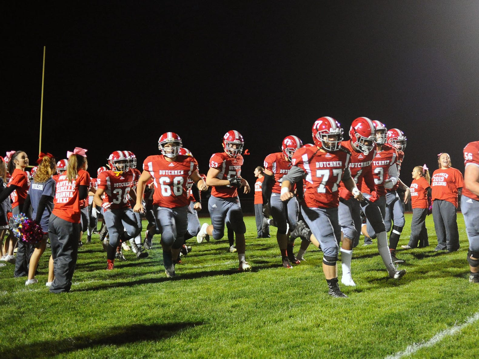 The A-C Dutchmen run onto the field before the start of the game  played Friday Oct.19,2018 at Annville Cleona H.S.