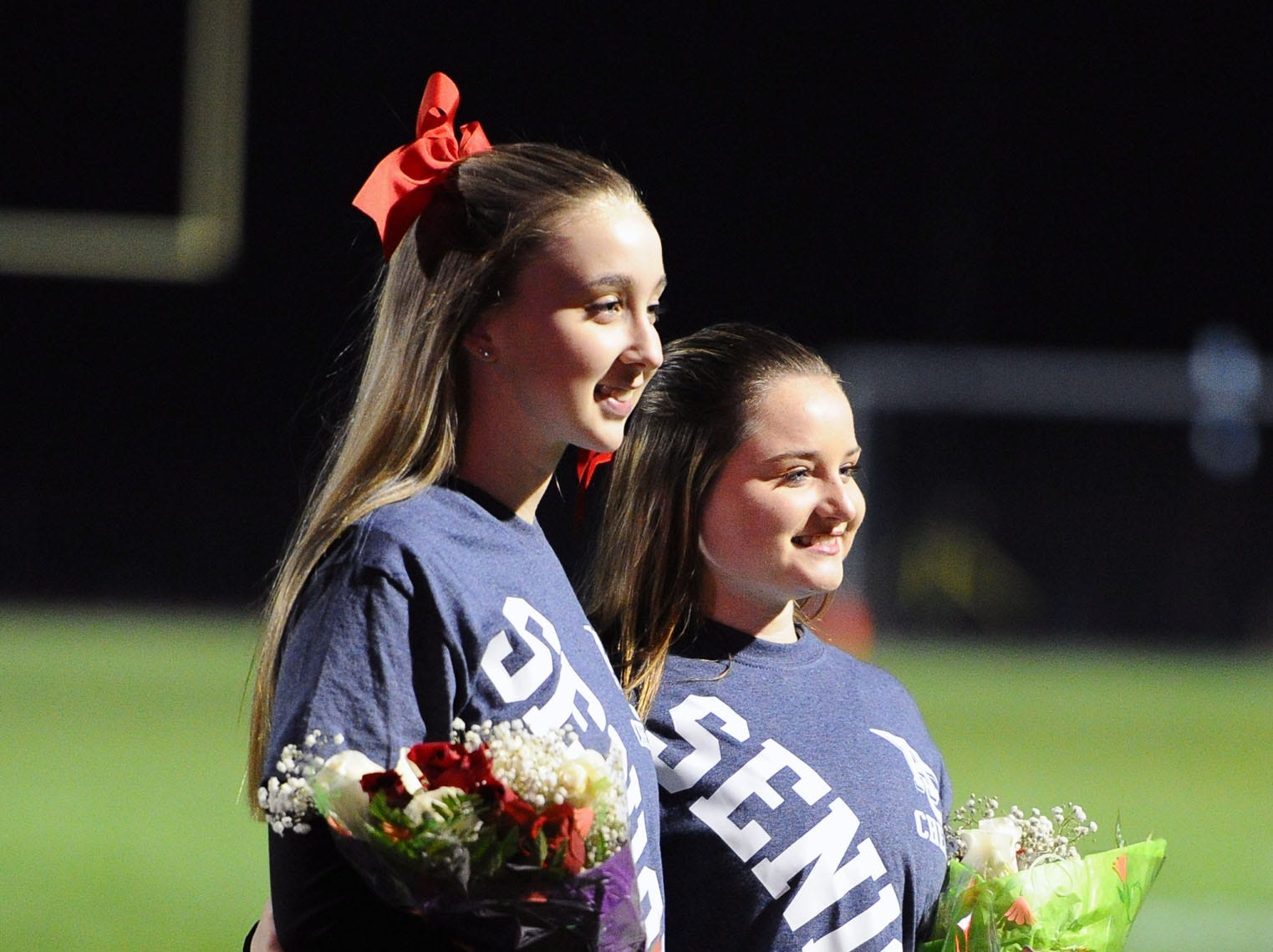 Two of the senior cheerleaders pose for a photo on Senior Night before a game played Friday Oct.19,2018 at Annville Cleona H.S.