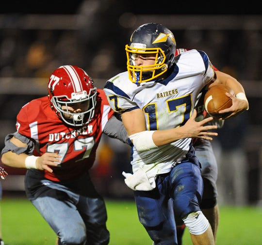 Braden Bohannon looks for running room against Annville-Cleona last season.