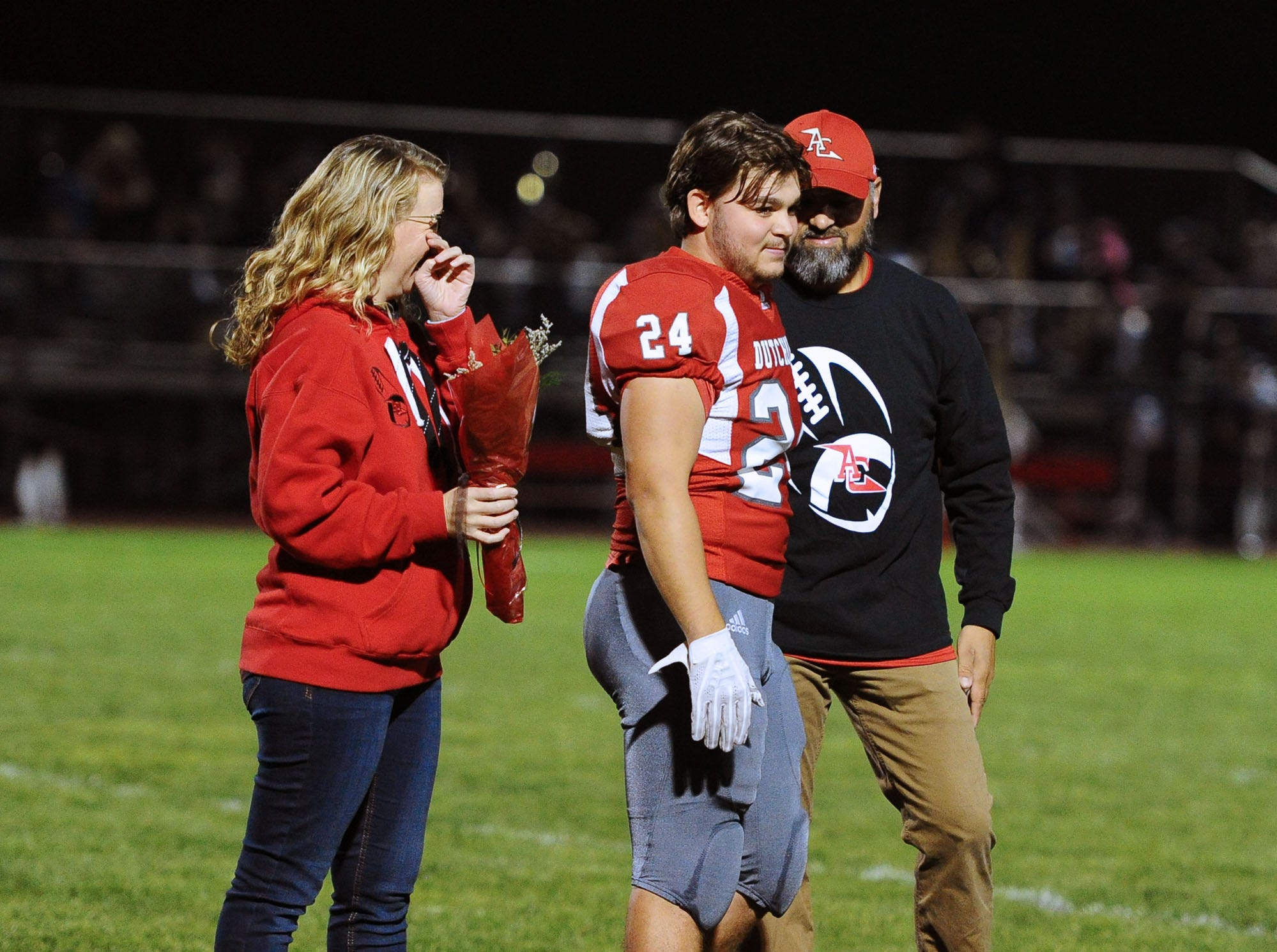 Senior Caleb Turner with his parents on Senior Night before a game played Friday Oct.19,2018 at Annville Cleona H.S.