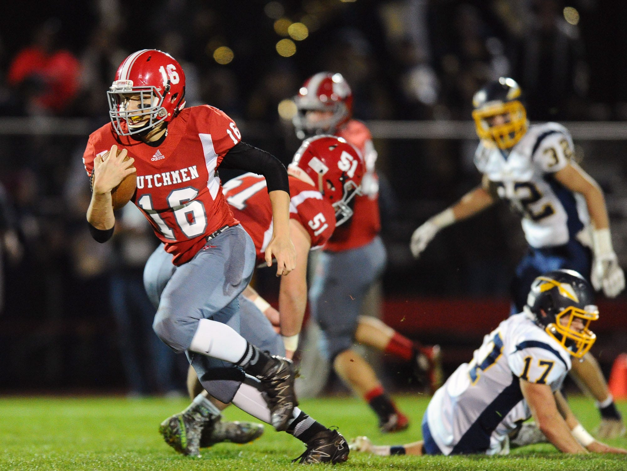 Annville-Cleona's Junior Bours takes off for one of his two touchdown runs that helped the Dutchmen to a must-win 31-13 victory over previously red-hot Elco on Friday night.