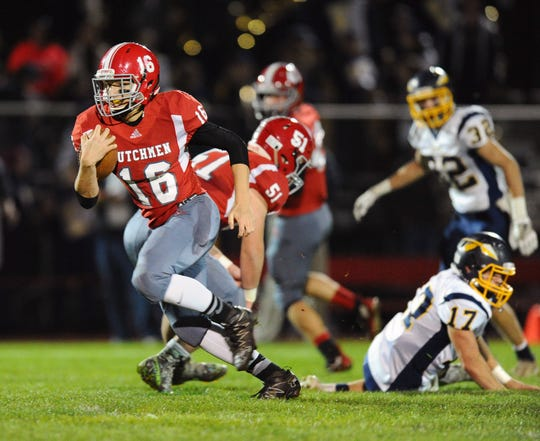 Annville-Cleona's Junior Bours takes off for one of his two touchdown runs that helped the Dutchmen to a must-win 31-13 victory over Elco last season.